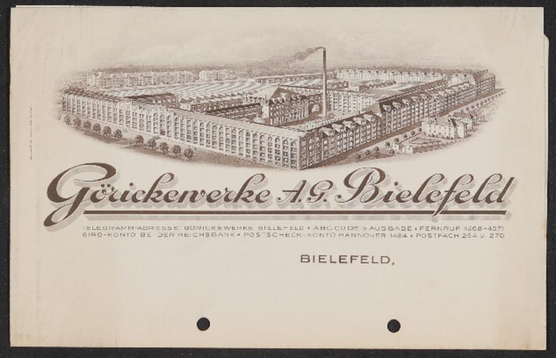 Göricke Görickewerke Briefkopfmuster 1910er Jahre