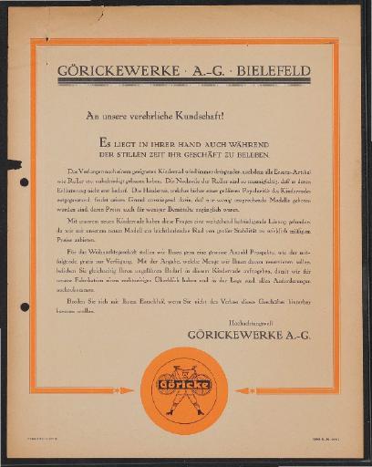Göricke Kinderfahrräder Werbeblatt 1925