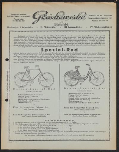 Göricke Spezialrad Werbeblatt 1927