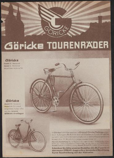 Göricke Tourenräder Werbeblatt 1930er Jahre