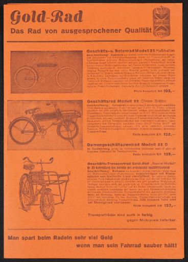 Gold-Rad Faltblatt 1930er Jahre