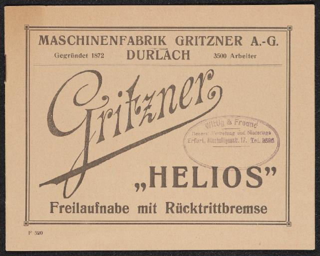 Gritzner Helios Freilaufnabe mit Rücktrittbremse Anleitung 20er Jahre