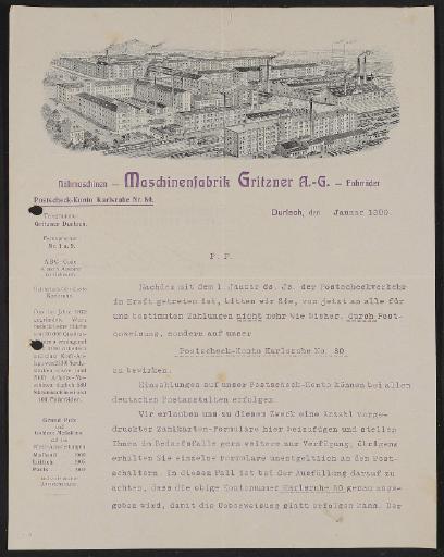 Gritzner, Informationsschreiben 1909