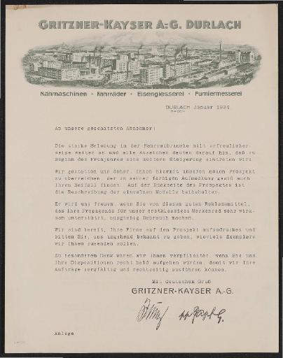 Gritzner-Kayser Händlerinformation 1934