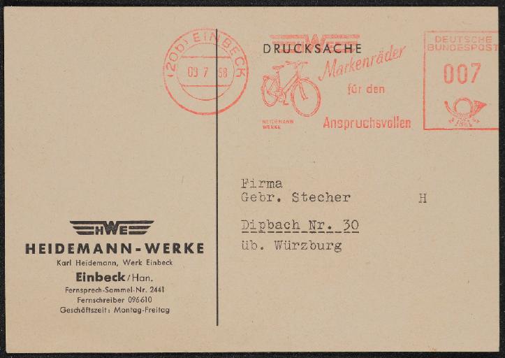 HWE Heidemann-Werke Einbeck Postkarte 1958
