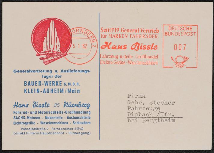 Hans Bissle Nürnberg Bauer-Werke Postkarte 1962