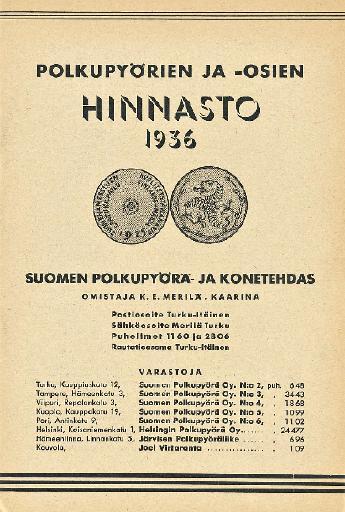 Polkupyorien ja osien hinnasto 1936