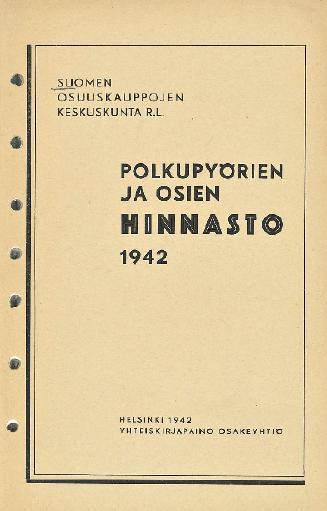 Polkupyorien ja osien hinnasto SOKK 1942