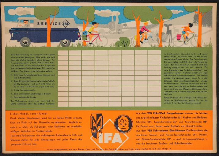IFA Mifa Diamant Stundenplan 1962