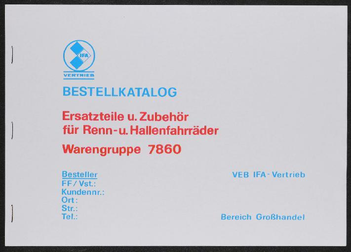 IFA Vertrieb Bestellkatalog Ersatzteile und Zubehör Katalog 1981