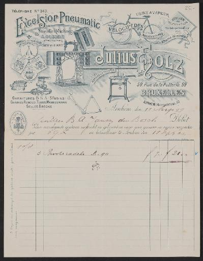 Julius Holz Großhandel (B), Rechnung 1899