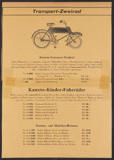 Kaweto Transport-Zweirad Kinder-Fahrräder, Excelsior-Motorfahrrad Werbeblatt 1930er Jahre