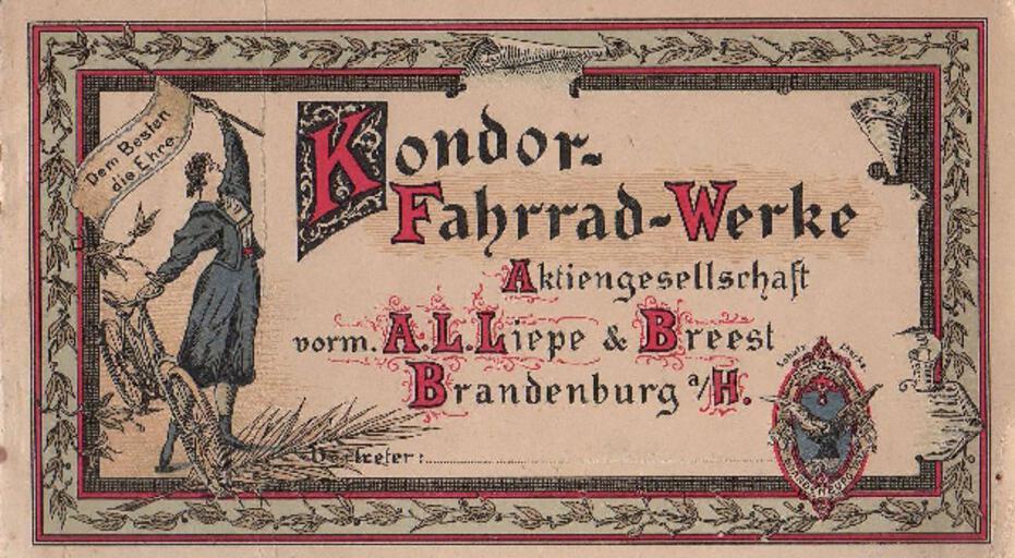 Kondor Preisliste 1898