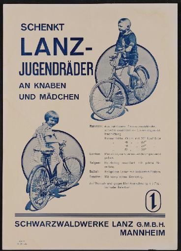 Lanz Jugendräder Werbeblatt 1928