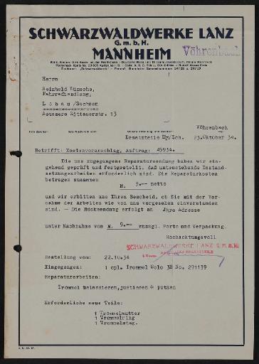 Lanz Schwarzwaldwerke Schriftwechsel 1927