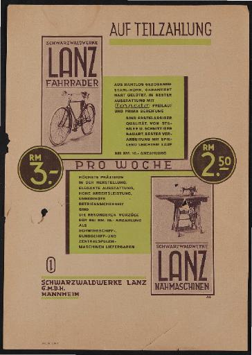 Lanz Schwarzwaldwerke Werbeblatt 1928
