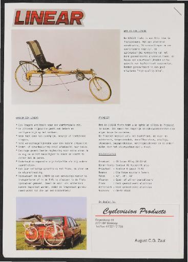 Linear Liegerad Werbeblatt 1980er Jahre