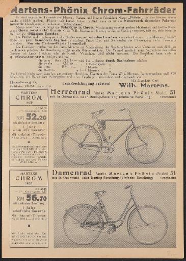 Martens Fahrräder Faltblatt 1935