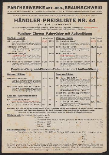 Panther Preisliste mit Felgen- und Strahlenkopfkarte 1937