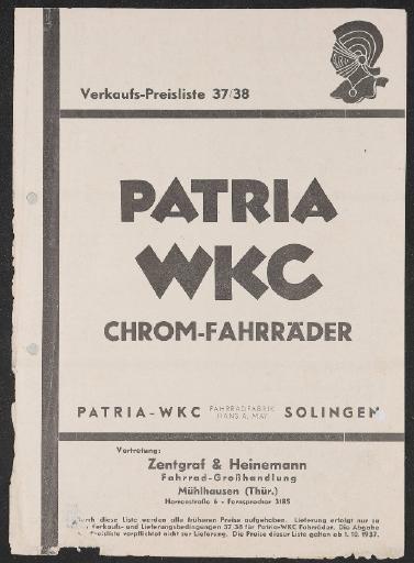 Patria WKC Preisliste 1937