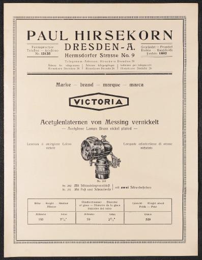 Paul Hirsekorn Dresden Marke Victoria Faltblatt 20er Jahre