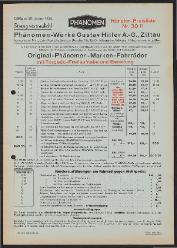 Phänomen  Preisliste 1938