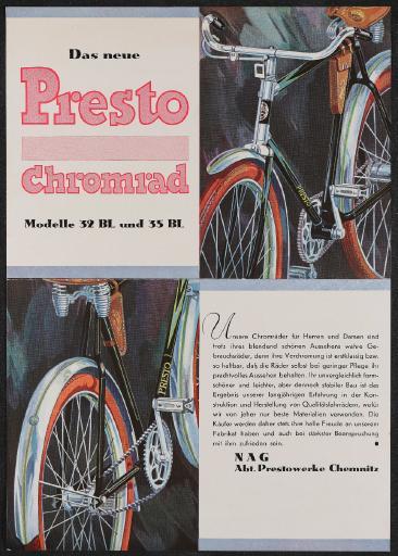 Das neue Presto Chromrad Werbeblatt 20er Jahre
