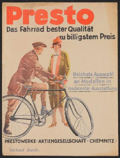 Presto Fahrräder Werbeblatt 1920er Jahre