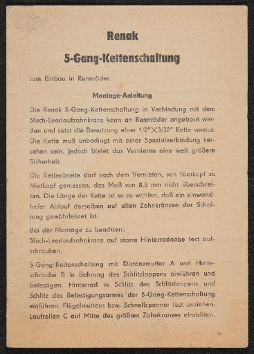 Renak 5-Gang-Kettenschaltung Montage-Anleitung 1960