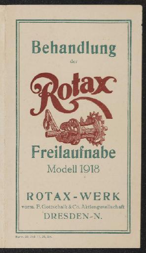 Rotax Behandlung der Rotax Freilaufnabe Modell 1918 Anleitung 1925