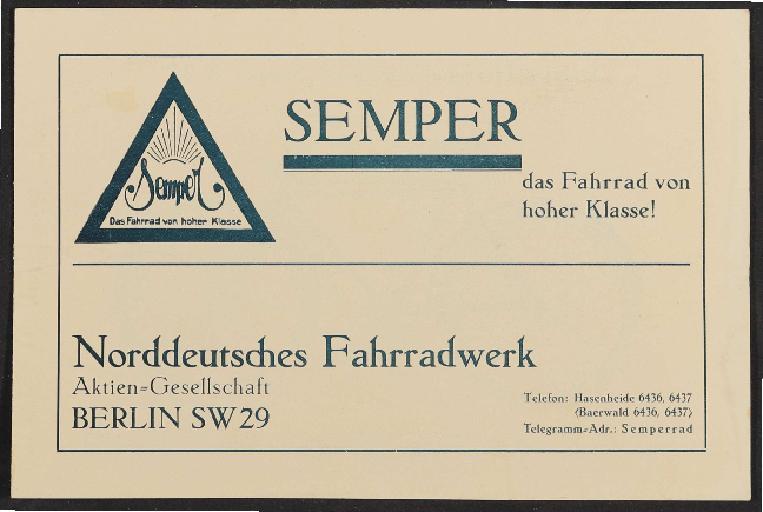 Semper, Faltblatt, 1920er Jahre
