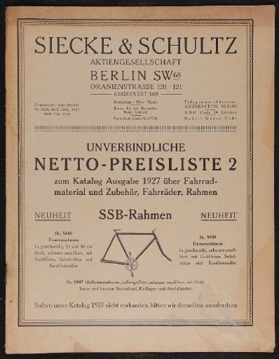 Siecke und Schultz AG Berlin Netto-Preisliste 1927