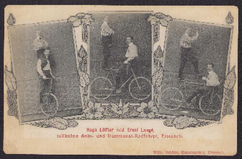 Postkarte Duettkunstfahrer Eisenach 1910er Jahre