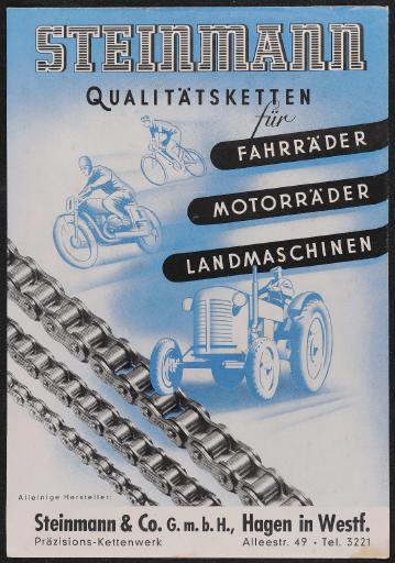Steinmann Qualitätsketten Werbeblatt 50er Jahre