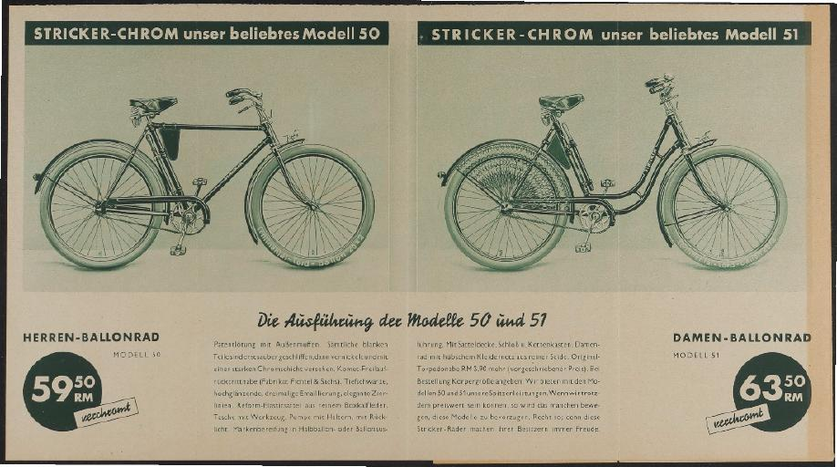 Stricker, Faltblatt, 1930er Jahre