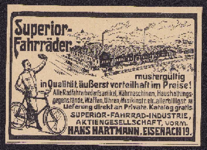 Superior-Fahrräder Werbung 1910er Jahre