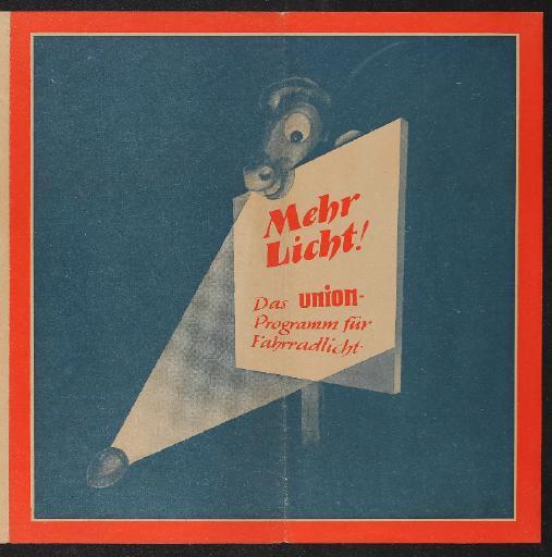 Union Mehr Licht Programm für Fahrradlicht Faltblatt 50er Jahre