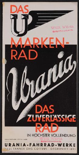 Urania Markenrad Faltblatt 1935