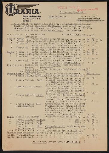 Urania Markenrad Preisliste 1935