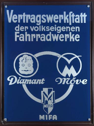 Vertragswerkstatt der volkseigenen Fahrradwerke Diamant Möve Mifa Glasschild 1960