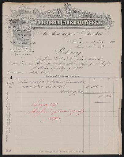 Victoria Fahrrad Werke, Rechnung 1893