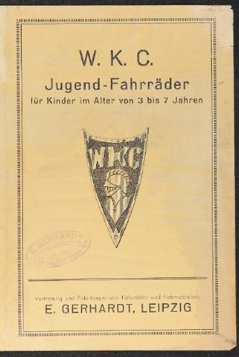 W.K.C. Jugendfahrräder WKC TELL Werbeblätter 20er Jahre
