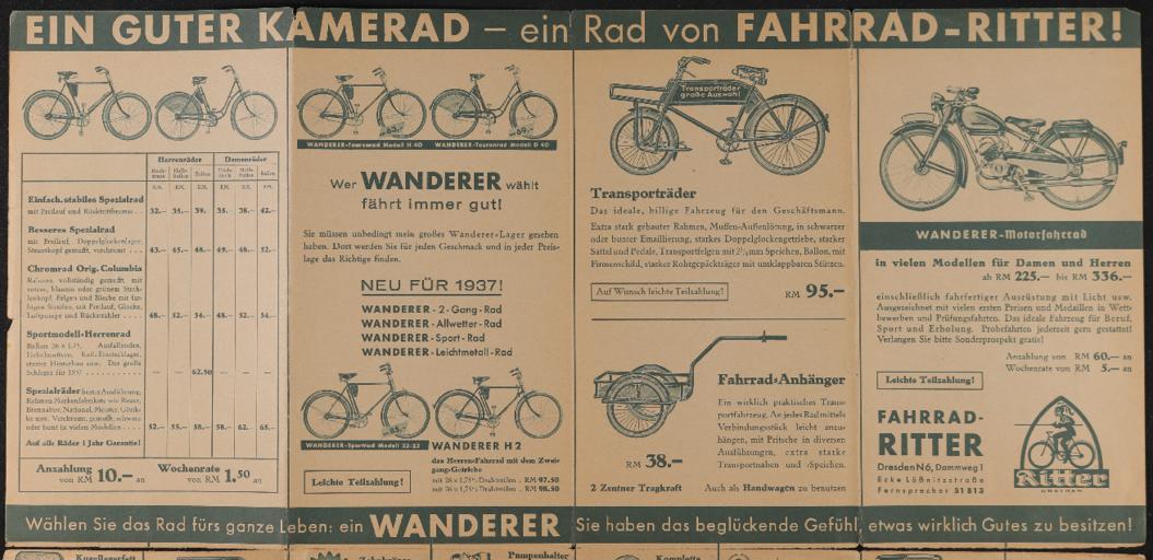 Wanderer Faltblatt Rad-Ritter Dresden 1930er Jahre