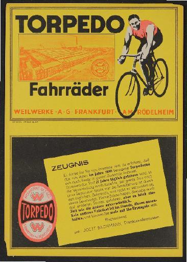 Torpedo Fahrräder Kundenzeugnis 1925