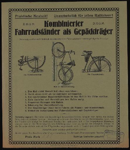 Kombinierter Fahrradständer als Gepäckträger 1920er Jahre