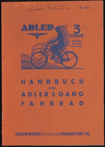 Adler 3 Gang Handbuch 1935