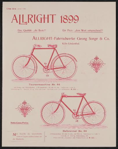 Allright-Fahrradwerke Werbeblatt 1899
