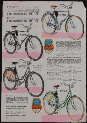 Alpina Tourenräder Katalogseite  1962