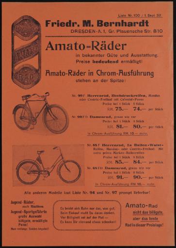Amato Räder Prospekt 1932