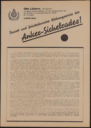 Anker Sichelgabel Sichelrad Prüfberichte 1936